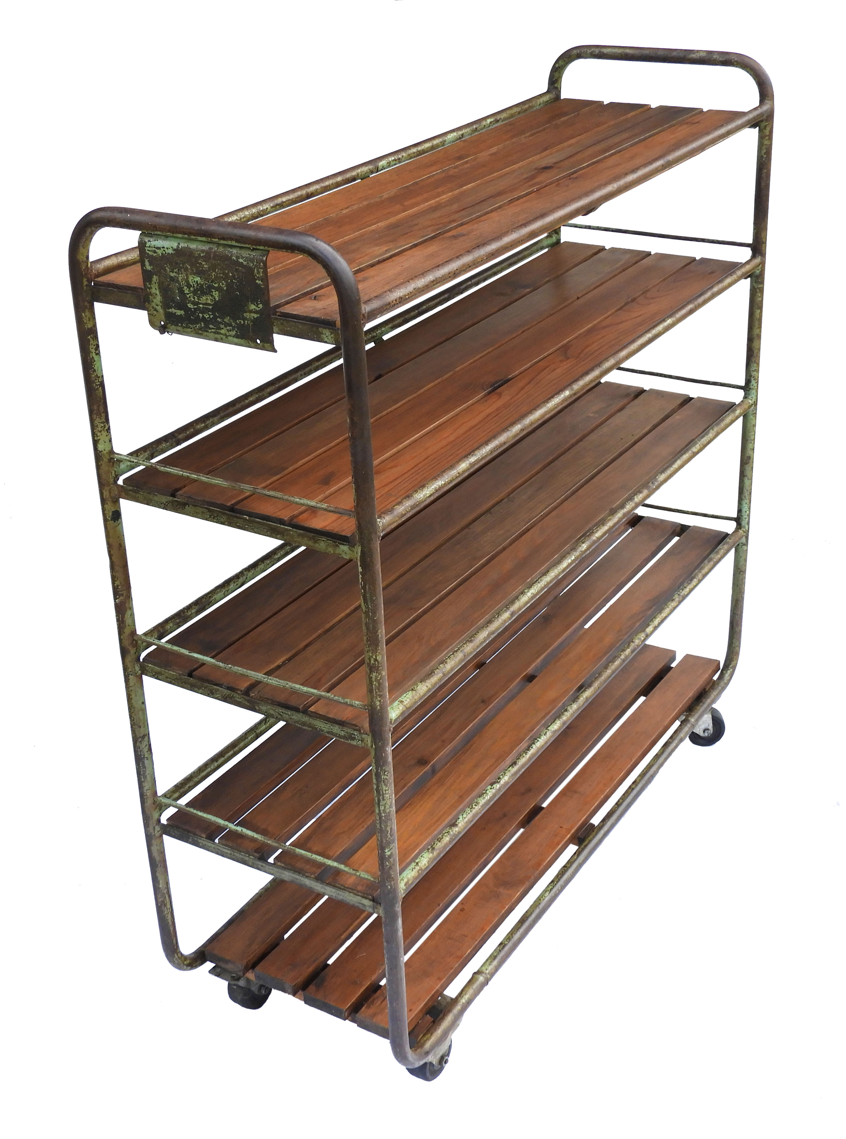 French Industrial Shelving Rack Rolling Bookcase Cart