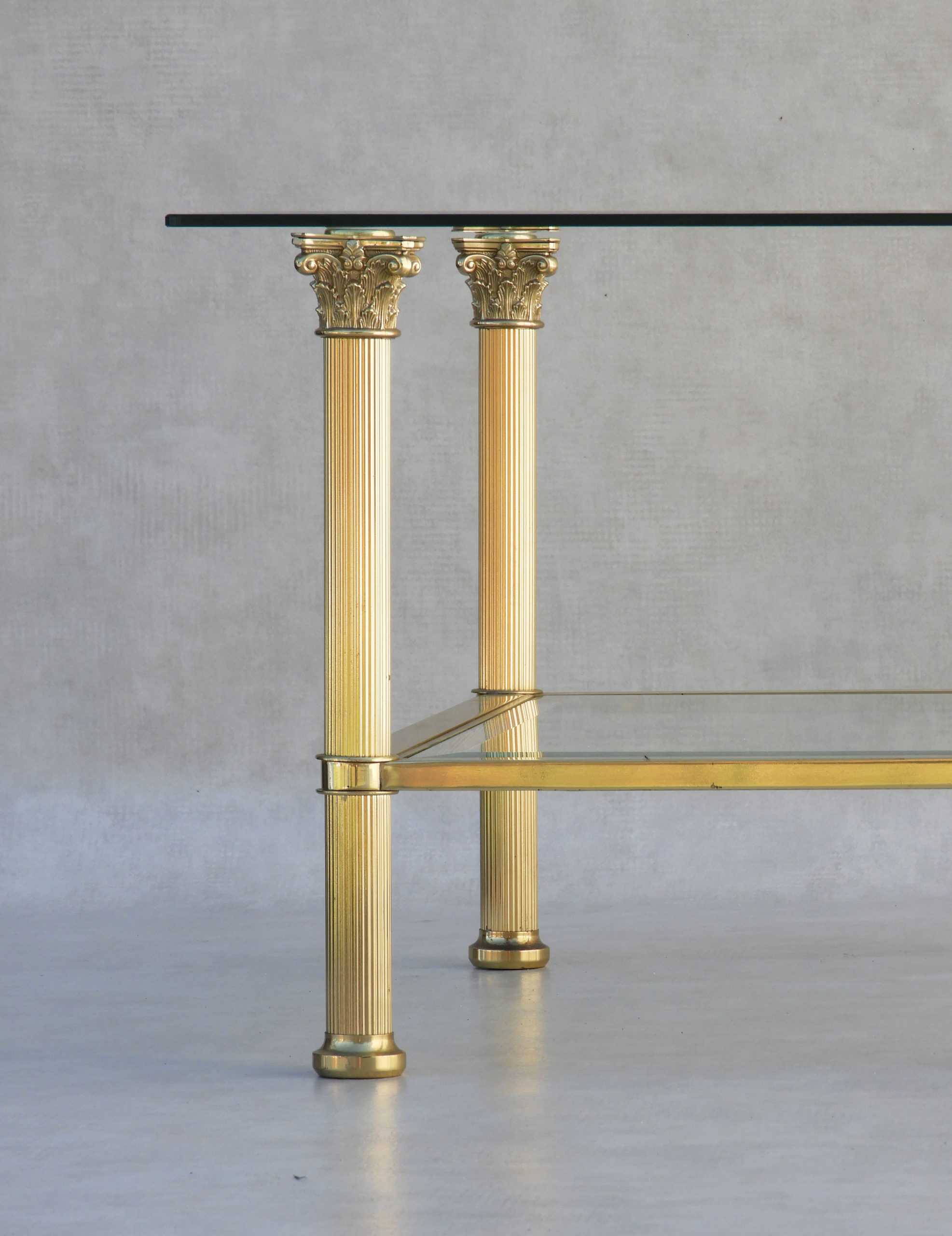 Large Neoclassical Brass And Glass Coffee Table Mid 20th Century