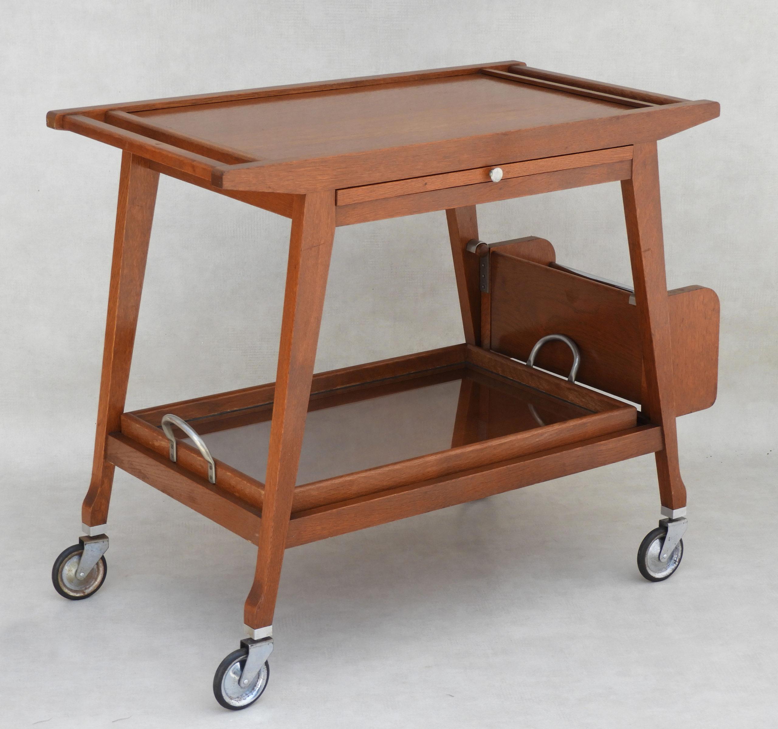 Vintage Mid Century Bar Cart Serving Trolley 1960s France Atelier33bis